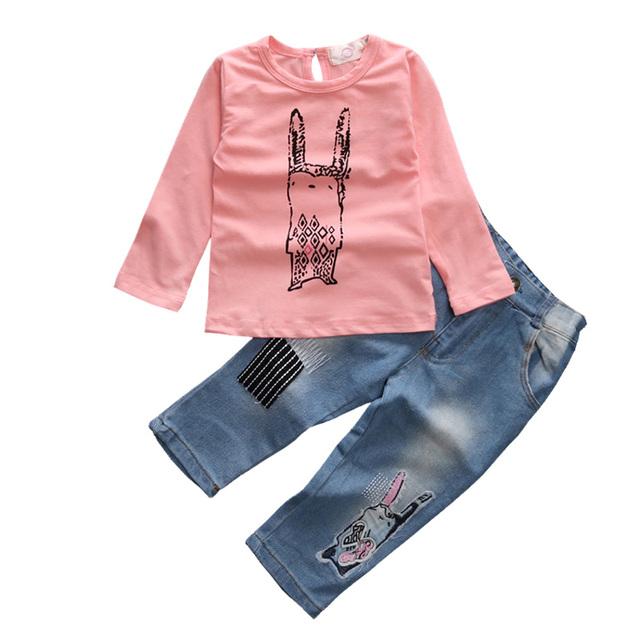 Novo 2016 crianças conjunto de roupas meninas coelho dos desenhos animados Ocasional mangas compridas camisa jean calças 2 peças set roupas outwear para menina crianças