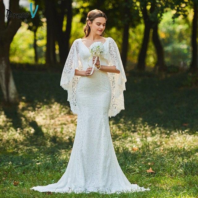 20e80cd3f51fa Dressv ivory elegant v neck wedding dress mermaid floor length sleeveless  bridal outdoor&church trumpet lace wedding dresses