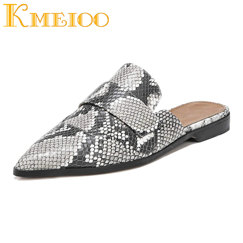 Kmeioo 2018 Retro Womens Backless Slip On Loafers Flat Pointed Toe Mule Slipper Ladies Shoes Casual Sandals Plus Size 35-46 cloth slip on bowtie pointed toe womens sandals