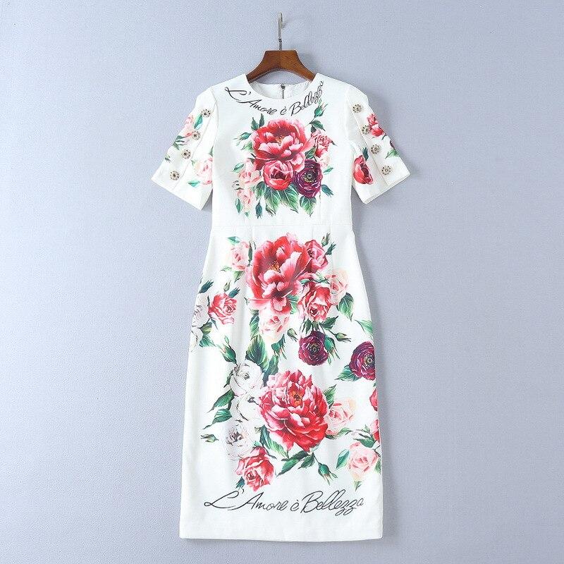 Milan robe de piste 2019 blanc fleurs imprimer femmes robe col rond manches courtes haut de gamme vacances robe 691