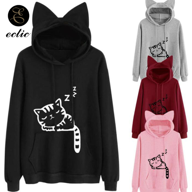Pullover Anime Cat Poleron Mujer 2018 Harajuku Kawaii Korean Oversized Sweatshirt Women Kangaroo Pocket Hoodie Cat Ears Vs Pink