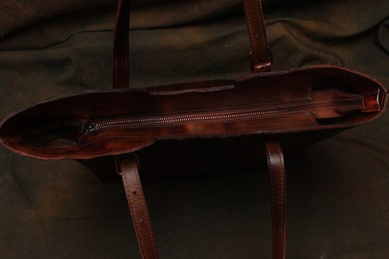 Nesitu haute qualité motif fleur Vintage café épais en cuir véritable femmes sacs à main dame sacs à bandoulière femme fourre-tout # M113 - 4