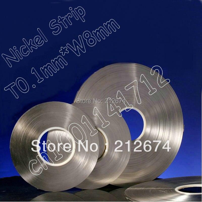 Connexion de la batterie nickel bande 0.1*7mm pur nickel bande utilisé pour 18650 batterie pack épaisseur 0.1mm largeur 7mm nickel ceinture