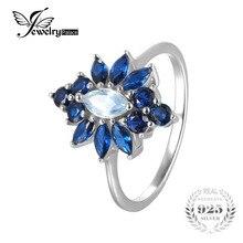JewelryPalace Lujo 2.5ct Marquise Creado Espinela Azul Flor Anillo de Plata de Ley 925 Anillo de Compromiso Para la Joyería Partido de Las Mujeres
