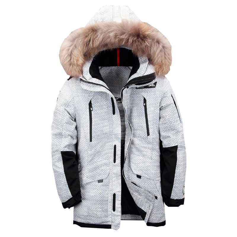 New men winter jacket Men's Camping Hiking Down Long Jacket Thickening hooded fur collar white duck down coats vogue inclined front fly multi button turn down collar long sleeves jacket for men
