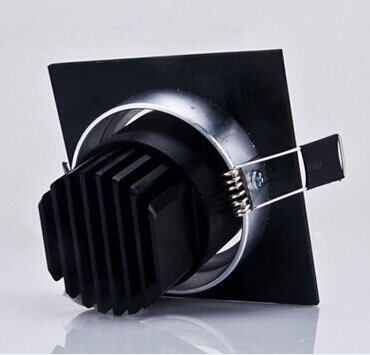 Free Shipping Black shell 9W Dimmable COB Led Ceiling down light with led driver Warm White White Cold White AC85 265V CE ROHS in Downlights from Lights Lighting