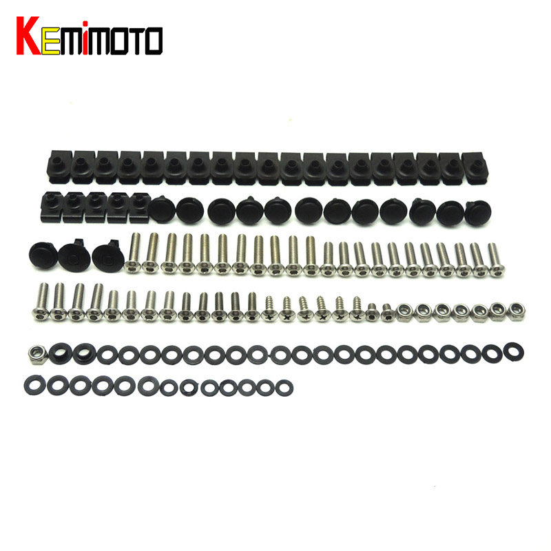 KEMiMOTO R1 Motorcycle Complete Fairing Bolts Kit Body Fasteners Clips Screws Nuts For Yamaha YZF R1 2007 2008 One Set NEW