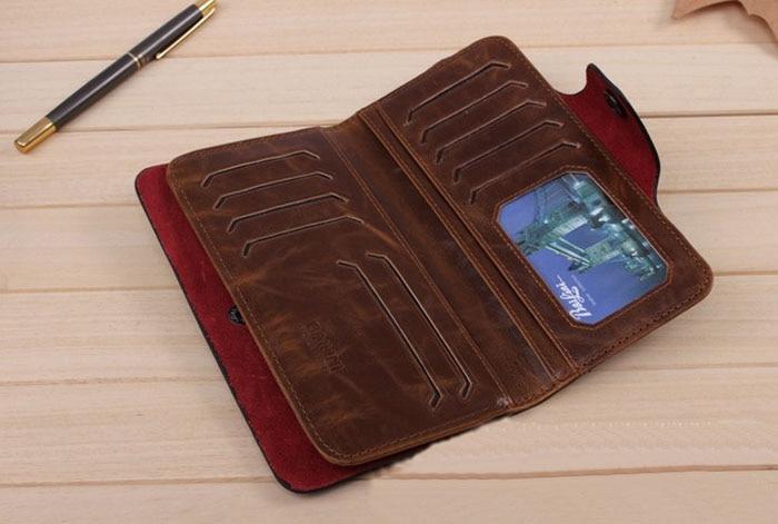 New Men/'s Leather Long Wallet Pockets ID Card Clutch Bifold Purse