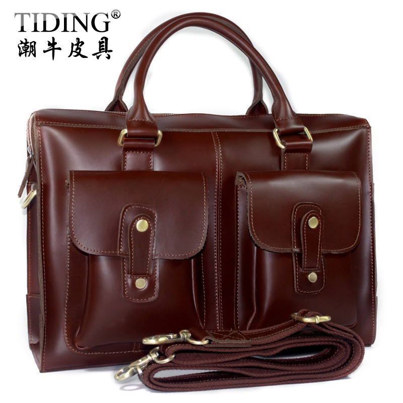 High Quality  Cattle man bag fashion vintage male genuine leather cowhide  shoulder handbag commercial briefcase 8410
