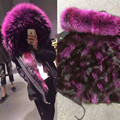 parkas for women winter outerwear 2016 new fashion natural real fox fur lined detachable parkas with natural raccoon fur collar