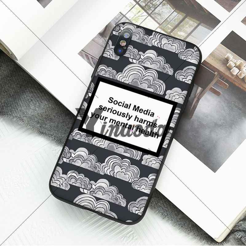 Yiuoda Phương Tiện Truyền Thông Xã Hội Nghiêm Trọng Gây Hại Của Bạn Sức Khỏe Tâm Thần Đen TPU Mềm Điện Thoại Cho iPhone 5 5Sx 6 7 7plus 8 8Plus X XS Max XR