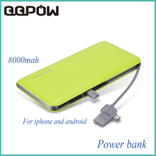 2016 New WST Ultrathin External Battery Backup Charger Adapter 8000mAh Power Bank for iPhone 5 5S 6 6S 7 plus xiaomi samsung