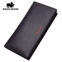 BISON DENIM 2016 Mens Wallet Leather Genuine Wallet Blue Classic Business Long Wallet Men For Gift