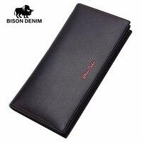 BISON DENIM 2016 Mens Wallet Leather Genuine Wallet Blue Classic Business Long Wallet Men For Gift