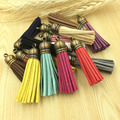 Free Shipping Mini Order 10PCS Bronze Color Caps Suede Cord Tassels Assorted Color Big Size 55MM Handmade Craft Leather Tassel