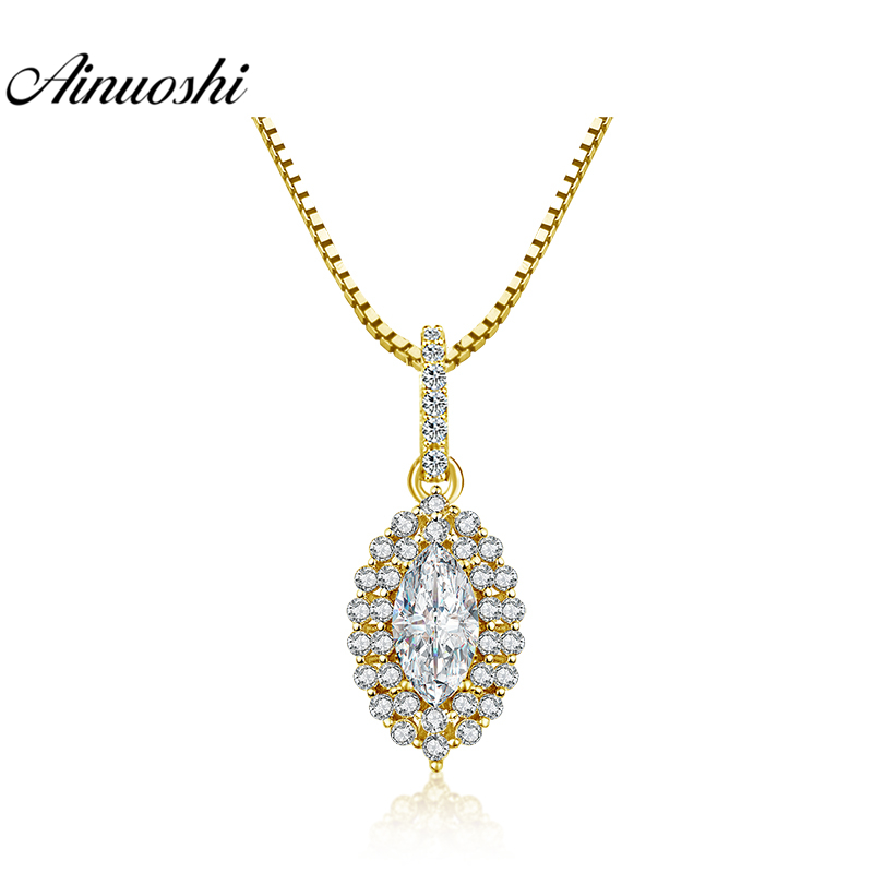 AINUOSHI 10K Yellow Gold Flower Pendant 2 Carat Marquise Cut SONA Diamond Pendant Luxurious Separate Pendant Women Jewelry GiftsAINUOSHI 10K Yellow Gold Flower Pendant 2 Carat Marquise Cut SONA Diamond Pendant Luxurious Separate Pendant Women Jewelry Gifts