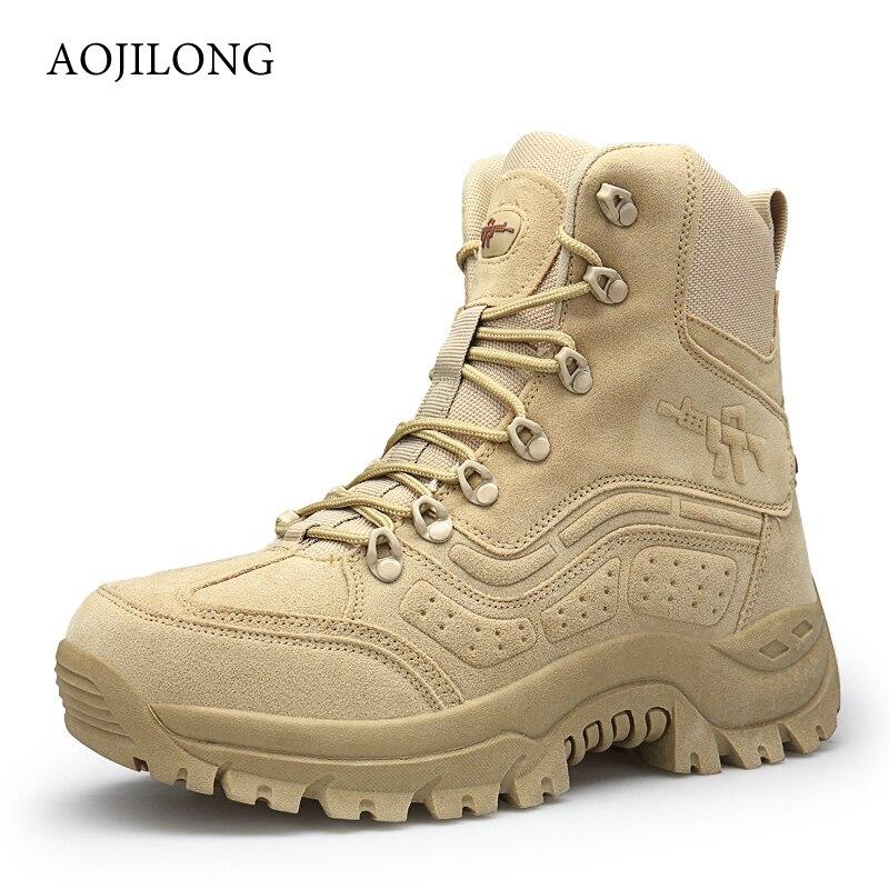 Hiver/automne hommes de haute qualité marque militaire en cuir bottes Force spéciale tactique désert Combat bateaux chaussures de plein air bottes de neige