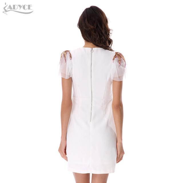 Adyce 2017 New Style Women Summer Dress O-Neck Short Lace Sleeve Back Zipper Casual Vestidos Celebrity Evening Party Dresses