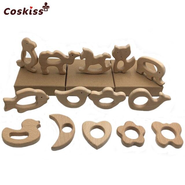 Ensemble de bijoux de soins infirmiers | Bricolage, 14 pièces, jouet en bois de hêtre naturel organique découpé à la main, anneau de dentition en bois pour bébé, ensemble de jouets de dentition pour bébé