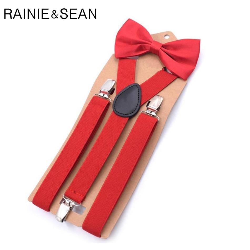 RAINIE SEAN Bow Suspender Belt Man Women Children Belt For Trouser Wedding Red Leather Dress Braces Wedding Male Pants Strap