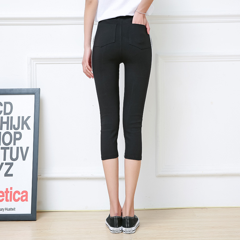 ee5ce674f74 Aliexpress.com   Buy Elastic Casual Women Skinny Side Striped Capris Plus  size Slim Push Up Calf Length Pants Pantalones Mujer Cintura Alta Pocket  from ...