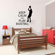 Keep Calm And Play Basketball Quote Wall Sticker Motivational Decal Removable Lettering Vinyl Q300