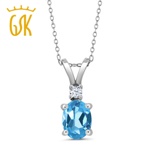 GemStoneKing trendy 925 Sterling Silver Solitaire Pendant with Accent 1.35 Ct Oval Natural Blue Topaz Pendant Necklace For Women