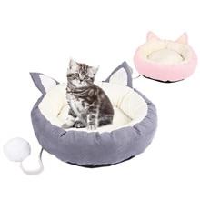 Cat Sofa Beds Warming Pet Bed Pad Cushion Soft Fleece Warm Mat Small for Medium Dog House Removable Pillow