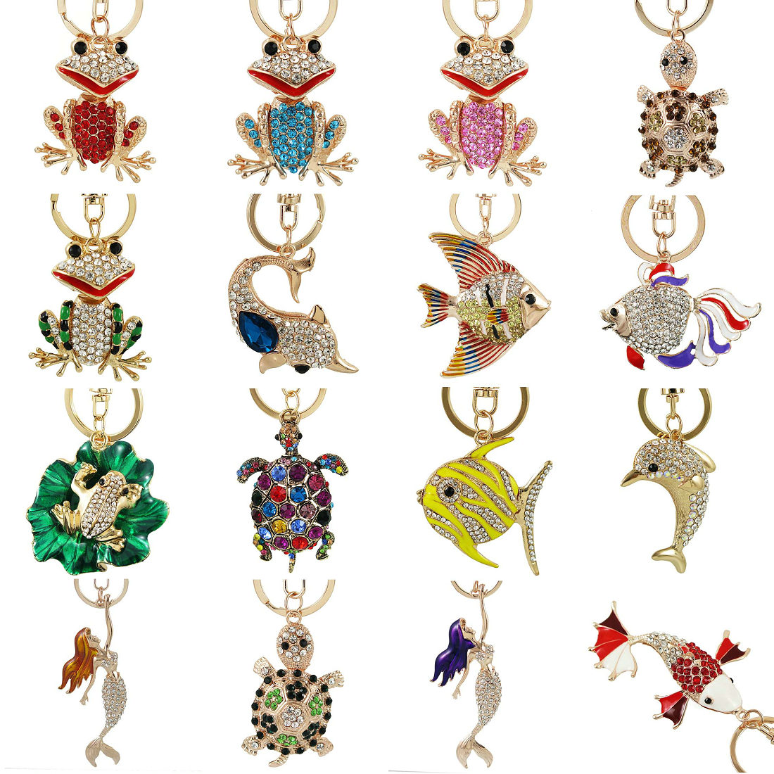 Exquisite Enamel Crystal Fish Frog Turtle Key Chains Holder Bag Buckle HandBag Pendant For Car Keyrings KeyChains Jewelry