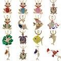 Изысканная, с эмалью, брелки для ключей с кристаллами в виде рыбы, лягушки, черепахи, держатель, пряжка для сумки, подвеска для сумки, брелки д...