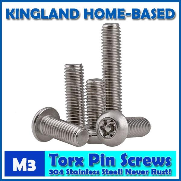 M3 Torx 6-Lobe Pan Round Head Six Lobe Pin In Torx Security Screw Bolt 304 Stainless Steel Pickproof Theftproof 20pcs m3 6 m3 x 6mm aluminum anodized hex socket button head screw