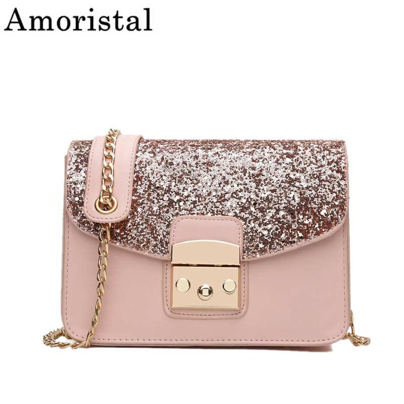 Nouveau bandoulière sacs à main pour femmes mode épaule Messenger sacs paillettes sauvage chaîne petits sacs carrés serrure rose bleu Bolsas SY08