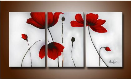 Free shipping 3 pieces fresh red poppy flowers oil painting canvas free shipping 3 pieces fresh red poppy flowers oil painting canvas set home decor at factory price in painting calligraphy from home garden on mightylinksfo Image collections