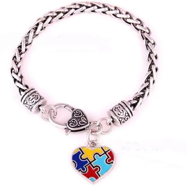 Puzzle z autyzmem Puzzle klasyczne posrebrzane Fashion Square emalia Charm bransoletka biżuteria B238