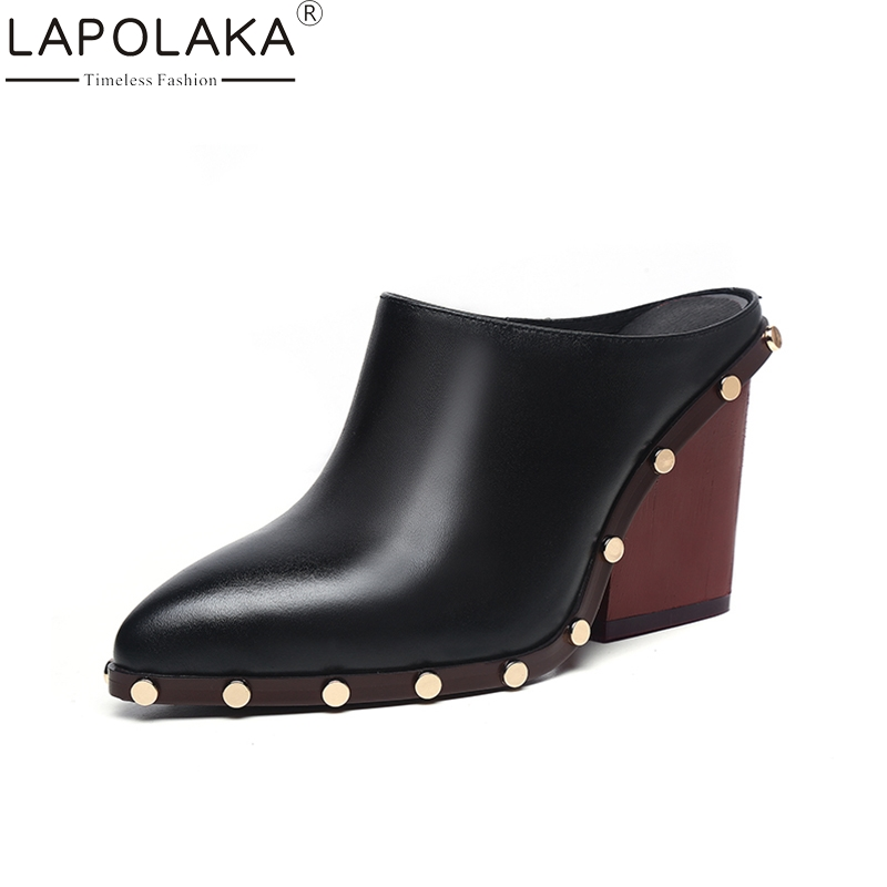 LAPOLAKA 2018 Genuine Leather Slip On Square High Heels Women Pumps Large Size 34-39 Shoes Woman Casual Mules Pumps Shoes bonjomarisa 2018 genuine leather chunky low heels peep toe slip on women shoes woman casual mules shoes pumps big size 34 39