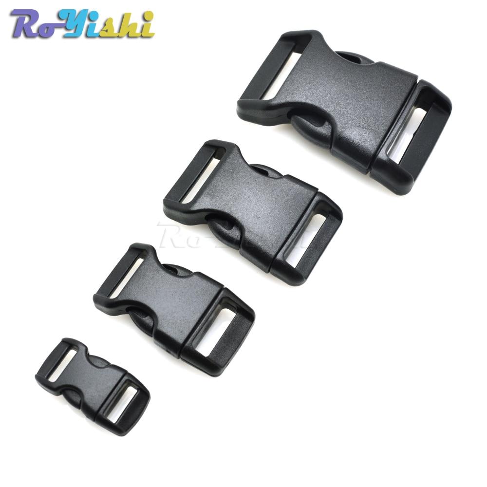 10pcs/pack Piastic Side Release Buckle Curved 550 Paracord Bracelet Dog Collar Backpack Strap Webbing 10mm 15mm 20mm 25mm