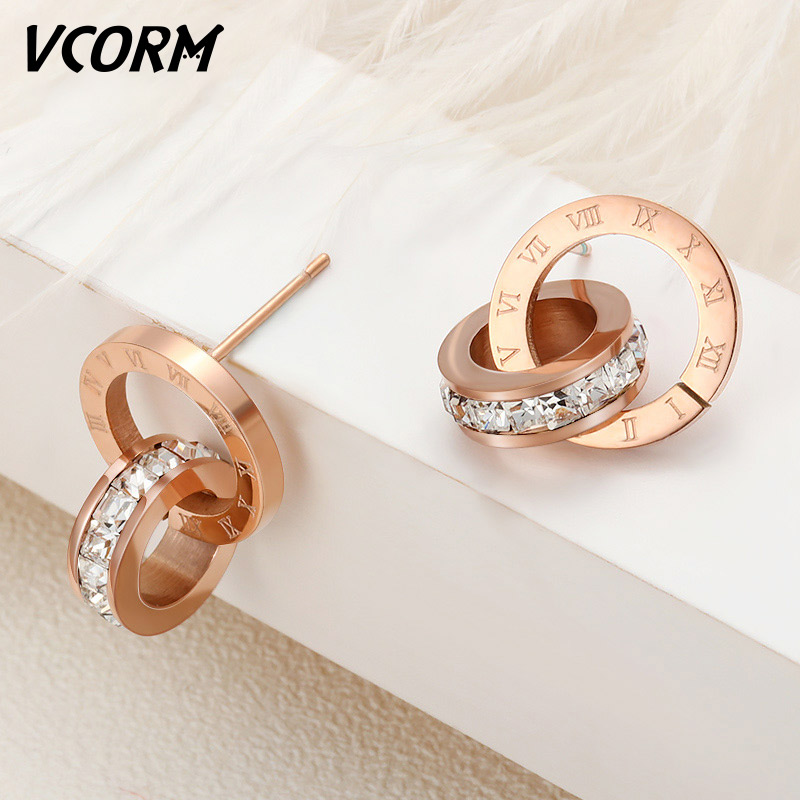 VCORM Luxury Brand Roman Numerals Gold Small Stud <font><b>Earrings</b></font> <font><b>For</b></font> Women Man Fashion Silver Stainless Steel Zircon <font><b>Earring</b></font> Jewelry image
