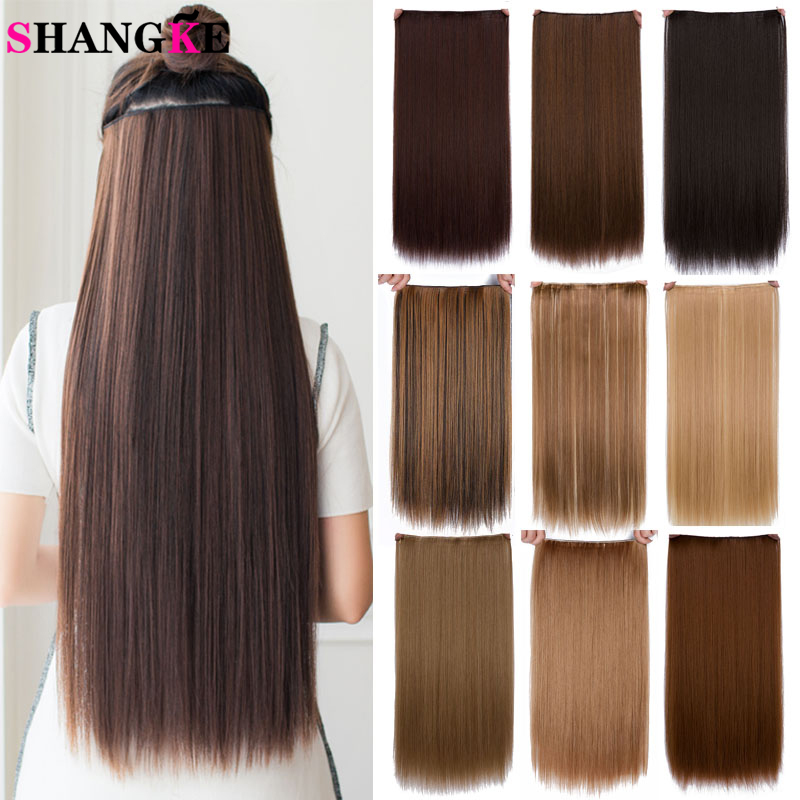 SHANGKE Hair 24'' Long Straight Women Clip in Hair Extensions Black Brown High Tempreture Synthetic Hair Piece 1