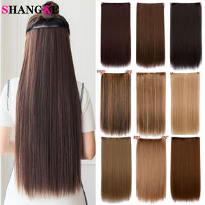 SHANGKE Hair-Extensions Synthetic-Hair-Piece Brown Clip-In Hair-24'' Black Straight Long