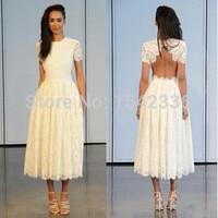 2016 White Lace Short Wedding Dresses A Line Short Sleeves Crew Elegant Backless Bridal Gown Tea