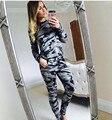 Mulheres Camoflage Militar Terno Senhoras 2 Peça Set Conjunto Roupa Calças Agasalho 2016 Outono Das Mulheres Top Colheita Plus Size