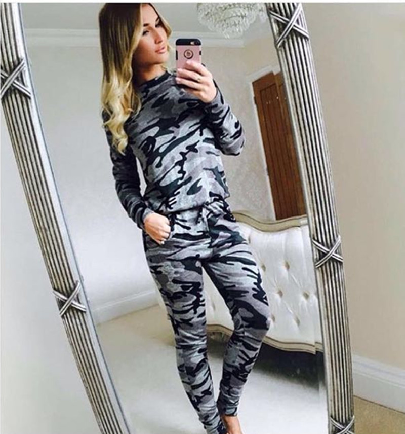 women camoflage military suit ladies 2 piece set tracksuit 2016 autumn women crop top pants. Black Bedroom Furniture Sets. Home Design Ideas