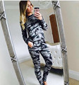 Women Camoflage Military Suit Ladies 2 Piece Set Tracksuit 2016 Autumn Women Crop Top Pants Outfit Set Plus Size