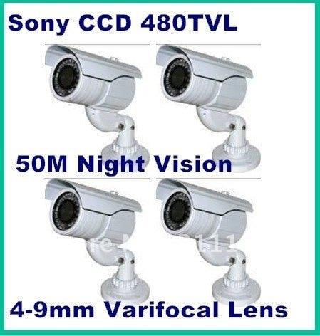 1/3'' Sony Super HAD Color CCD 480TVL Surveillance water resistant 4-9mm varifocal lens  home camera security system,4pcs/lot