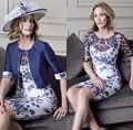 Plus Size Azul Marinho Mãe Dos Vestidos de Noiva com jaqueta de renda do joelho comprimento vestido de noite formal Mãe Do Vintage Do vestido Do Noivo vestidos