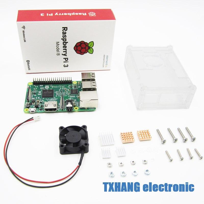 Raspberry pi 3 kit de bricolage + boîtier acrylique transparent + radiateur aluminium 5 pièces + mini ventilateur de refroidissement