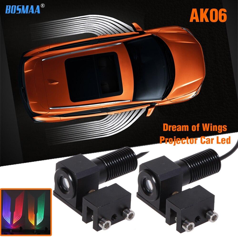 Bosmaa voiture/motos led porte projecteur ombre lumière brouillard avertissement lumière bienvenue signal d'urgence lumière ailes lampe grand radiateur