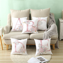 Letter Pillow Cover 45x45cm Room English Alphabet For Home goods 1PC Flower Pillowcase Polyester(China)