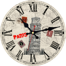 Shabby Chic Leaning Tower Design Clock Silent Home Cafe Office Bar Decorative Watches Art Wall Vintage Large Gift