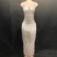 Блестящие кристаллы кисточкой длинное платье пикантная обувь для ночного клуба Стразы платья певица танцевальный костюм для выпускного от